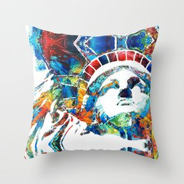 Colorful Statue Of Liberty - Sharon Cummings Throw Pillow