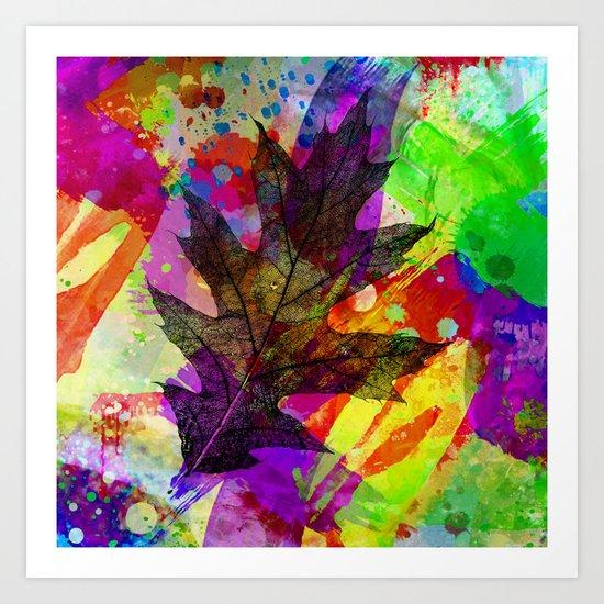 Splash leaf Art Print