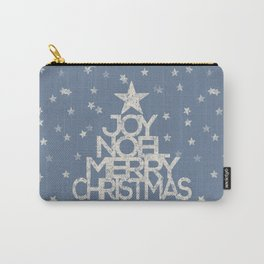 Joy-Noel-Merry Christmas- Typography and stars on fresh wintry grey Carry-All Pouch