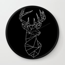 Geometric Stag (White on Black) Wall Clock