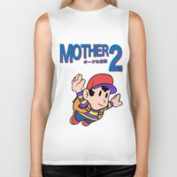 earthbound Biker Tanks featuring Mother 2 / Earthbound / Super Mario Bros. 3 Style by Studio Momo╰༼ ಠ益ಠ ༽