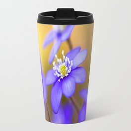 Spring Wildflowers, Beautiful Hepatica in the forest on a sunny and colorful background Travel Mug