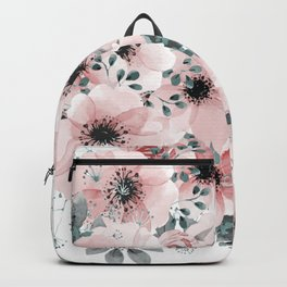 Flower Watercolor, Blush Pink and Gray, Floral Prints Backpack