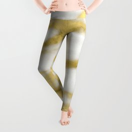 Marble - Gold Marble on White Pattern Leggings