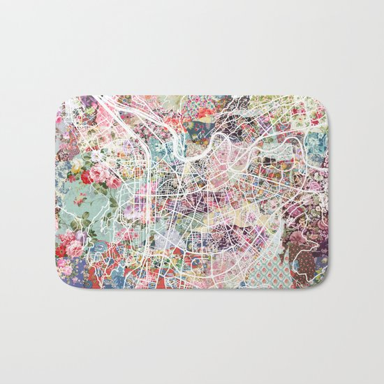 Grenoble map Bath Mat