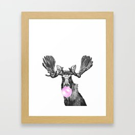Bubble Gum Moose in Black and White Framed Art Print