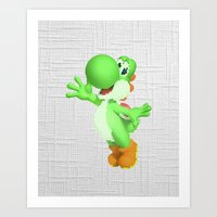 yoshi Art Prints featuring Yoshi by Jessica Wray
