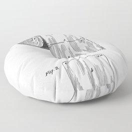 Toilet Paper Patent - Bathroom Art - Black And White Floor Pillow