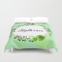 slytherin Duvet Covers featuring HP Slytherin in Watercolor by Snazzy Sisters