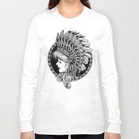 headdress Long Sleeve T-shirts featuring Headdress by BIOWORKZ
