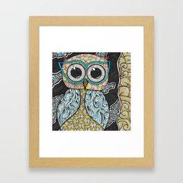 Owl Night Zendoodle Artwork Framed Art Print