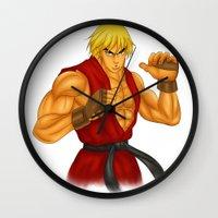 street fighter Wall Clocks featuring Ken Street Fighter by jasonarts