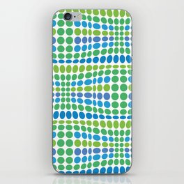 Dottywave - Green Blue wave dots pattern iPhone Skin