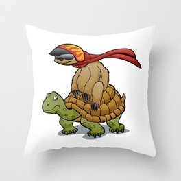 sloth riding a turtle Throw Pillow