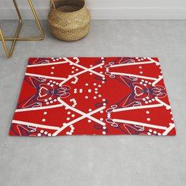 Tile #6 White-Blue Line Art on Red Rug