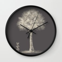 Palm tree - botanical silver illustration Wall Clock
