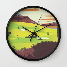 'For Golf' Northern Ireland Travel poster Wall Clock