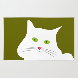 White cat on the green grass Rug