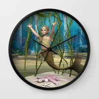 the little mermaid Wall Clocks featuring Little Mermaid by Design Windmill