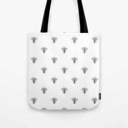 Linocut bee minimal nature insect printmaking black and white bees wasps Tote Bag