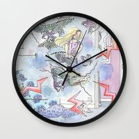girl power Wall Clocks featuring Girl power by Dreamy Me