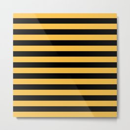 Yellow and Black Bumblebee Stripes Metal Print