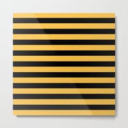 Yellow and Black Bumblebee Stripes Metal Print