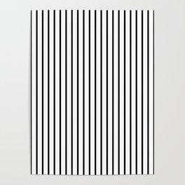 Large Black Pinstripe On White Poster