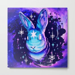Black Hole Rabbit Metal Print