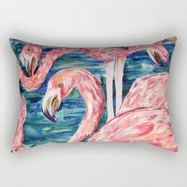 Flamingo Party Pink and Tropical Rectangular Pillow