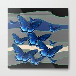 INDIGO BLUE BUTTERFLIES ON THE STORMY HORIZON Metal Print