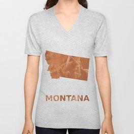 Montana map outline Peru hand-drawn wash drawing Unisex V-Neck