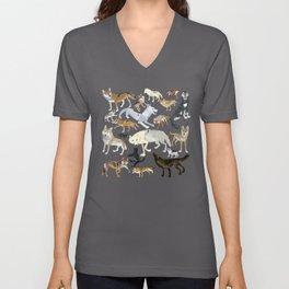 Wolves of the World Green pattern Unisex V-Neck