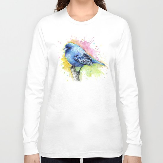 Blue Bird Indigo Bunting Colorful Animals Long Sleeve T-shirt
