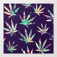 cannabis Canvas Prints featuring Merry Cannabis by GypsYonic