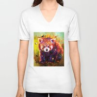 red panda V-neck T-shirts featuring red panda by ururuty