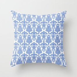 Floral Pattern Blue Throw Pillow