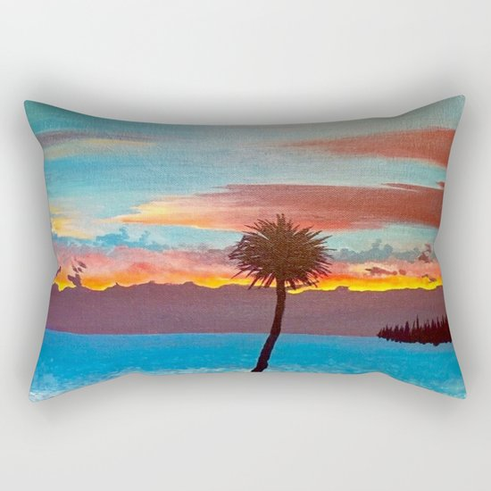The Beautiful Key West Sun is captured in this ocean sunset painting Rectangular Pillow