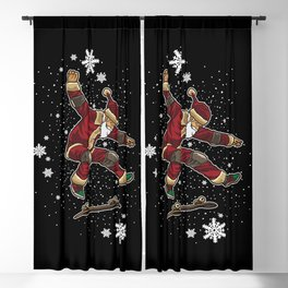 Skateboard Santa Claus Does Tricks In The Snow Blackout Curtain