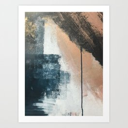 Honey 1: a pretty, minimal abstract in midnight blue, rose gold, and white Art Print