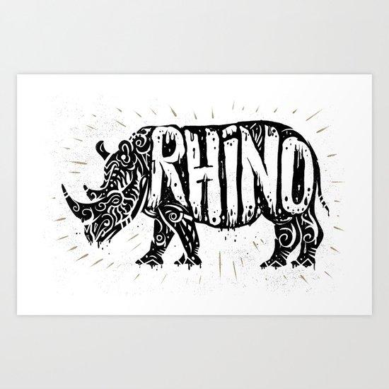 Rhino in tribal style Art Print