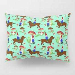 Gnome & Dachshund in Mushroom Land, Teal Background Pillow Sham