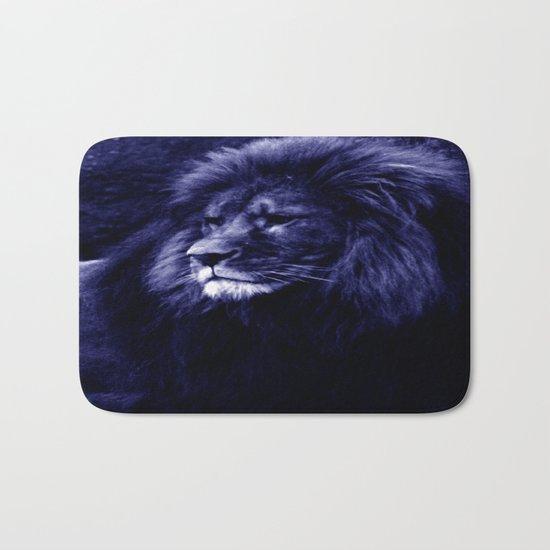 Indigo Blue Lion. Bath Mat