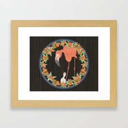 Flamingo wreath Framed Art Print