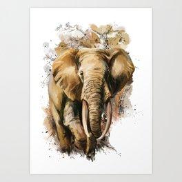 Ornate Elephant vector elephant Art Print