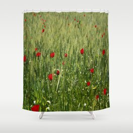 Red Poppies Growing In A Corn Field  Shower Curtain