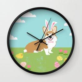 Corgi easter bunny spring dog breed welsh corgis gifts Wall Clock