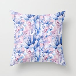 Watercolor crystals Throw Pillow