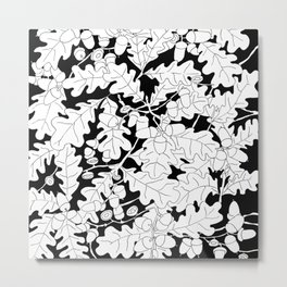 Composition of Oak Leaves and Acorns Metal Print