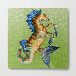 Hippocamppus Lime Metal Print